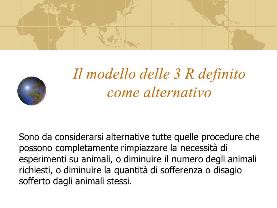 Il modello delle 3 R definito come alternativo Sono da considerarsi alternative tutte quelle procedure che possono completamente rimpiazzare la necessità di esperimenti su animali, o diminuire il numero degli animali richiesti, o diminuire la quantità di sofferenza o disagio sofferto dagli animali stessi.