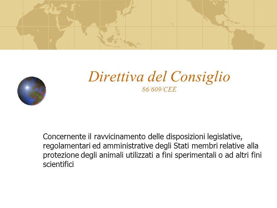 Direttiva del Consiglio 86/609/CEE Articolo 23 La Commissione e gli Stati membri dovrebbero incoraggiare la ricerca intesa a sviluppare e rendere più efficaci tecniche alternative atte a fornire lo stesso livello dinformazione degli esperimenti su animali ma che prevedano lutilizzo di un minor numero di animali o comportino procedimenti meno dolorosi e prendano tutte le misure che ritengono opportune per favorire la ricerca in questo settore.