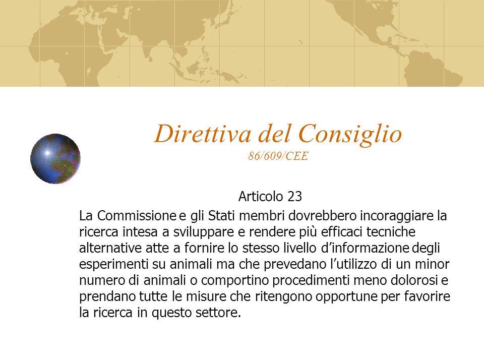 Direttiva del Consiglio 86/609/CEE Articolo 23 La Commissione e gli Stati membri dovrebbero incoraggiare la ricerca intesa a sviluppare e rendere più