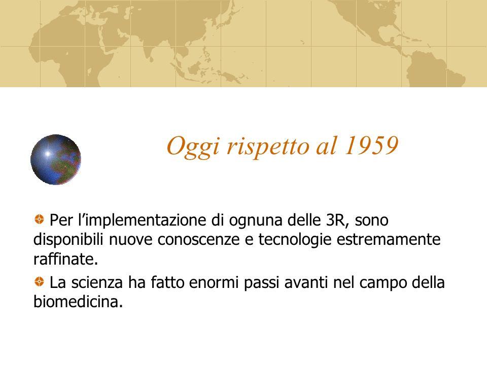 Oggi rispetto al 1959 Per limplementazione di ognuna delle 3R, sono disponibili nuove conoscenze e tecnologie estremamente raffinate.
