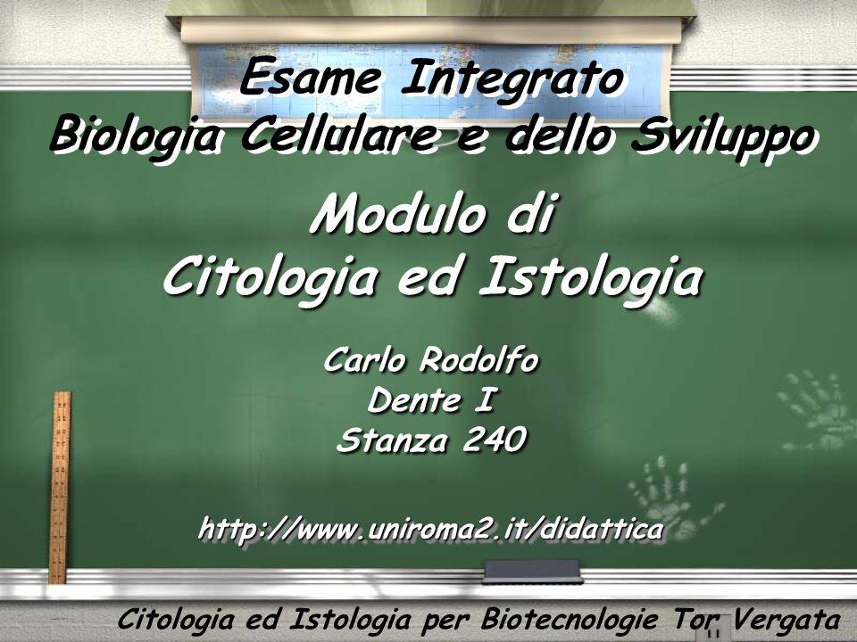 Modulo di Citologia ed Istologia Carlo Rodolfo Dente I Stanza 240 Carlo Rodolfo Dente I Stanza 240 http://www.uniroma2.it/didatticahttp://www.uniroma2