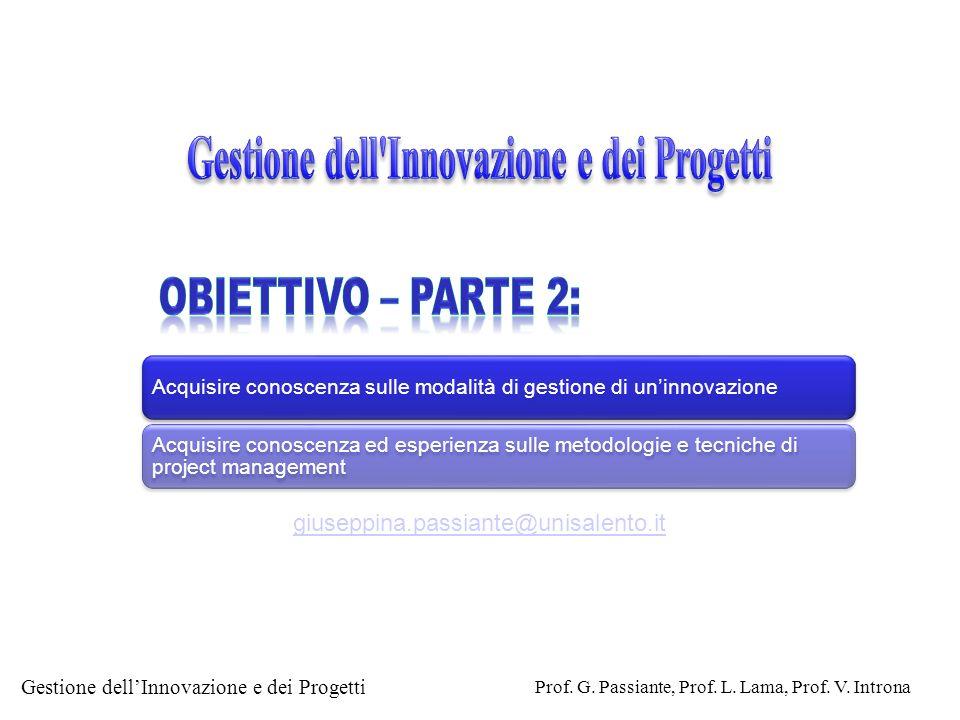 Gestione dellInnovazione e dei Progetti Prof. G. Passiante, Prof. L. Lama, Prof. V. Introna Acquisire conoscenza sulle modalità di gestione di uninnov