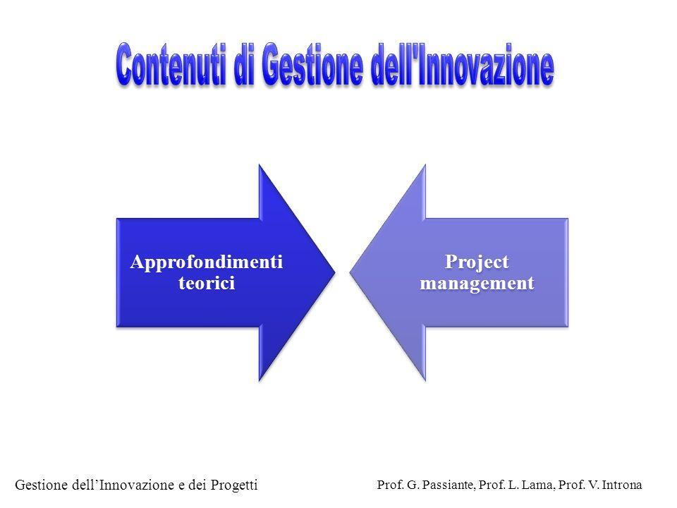 Gestione dellInnovazione e dei Progetti Prof. G. Passiante, Prof. L. Lama, Prof. V. Introna Approfondimenti teorici Project management