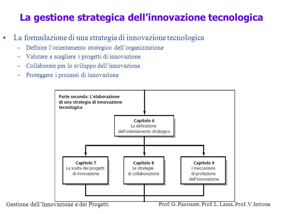 Gestione dellInnovazione e dei Progetti Prof. G. Passiante, Prof. L. Lama, Prof. V. Introna La formulazione di una strategia di innovazione tecnologic