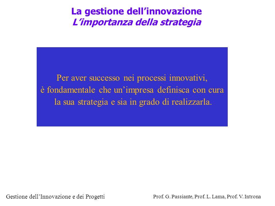 Gestione dellInnovazione e dei Progetti Prof. G. Passiante, Prof. L. Lama, Prof. V. Introna La gestione dellinnovazione Limportanza della strategia Pe