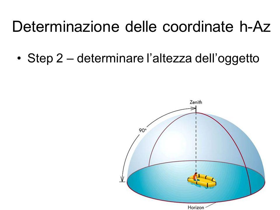 Step 2 – determinare laltezza delloggetto Determinazione delle coordinate h-Az