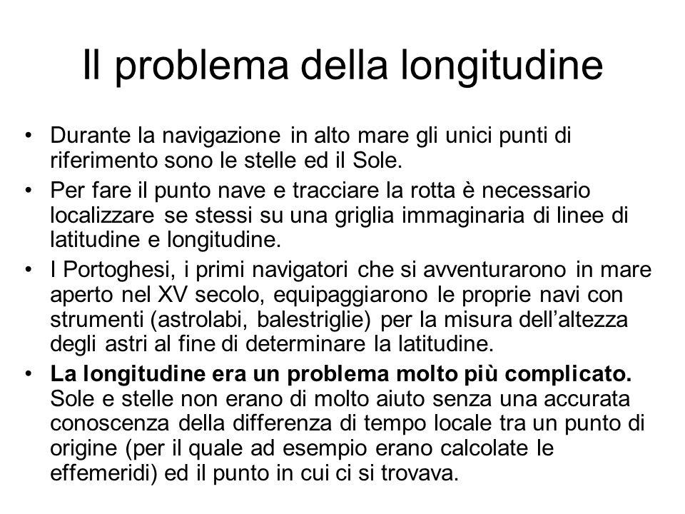 Il problema della longitudine Durante la navigazione in alto mare gli unici punti di riferimento sono le stelle ed il Sole. Per fare il punto nave e t