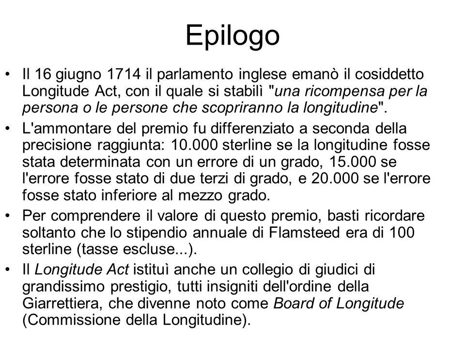Epilogo Il 16 giugno 1714 il parlamento inglese emanò il cosiddetto Longitude Act, con il quale si stabilì