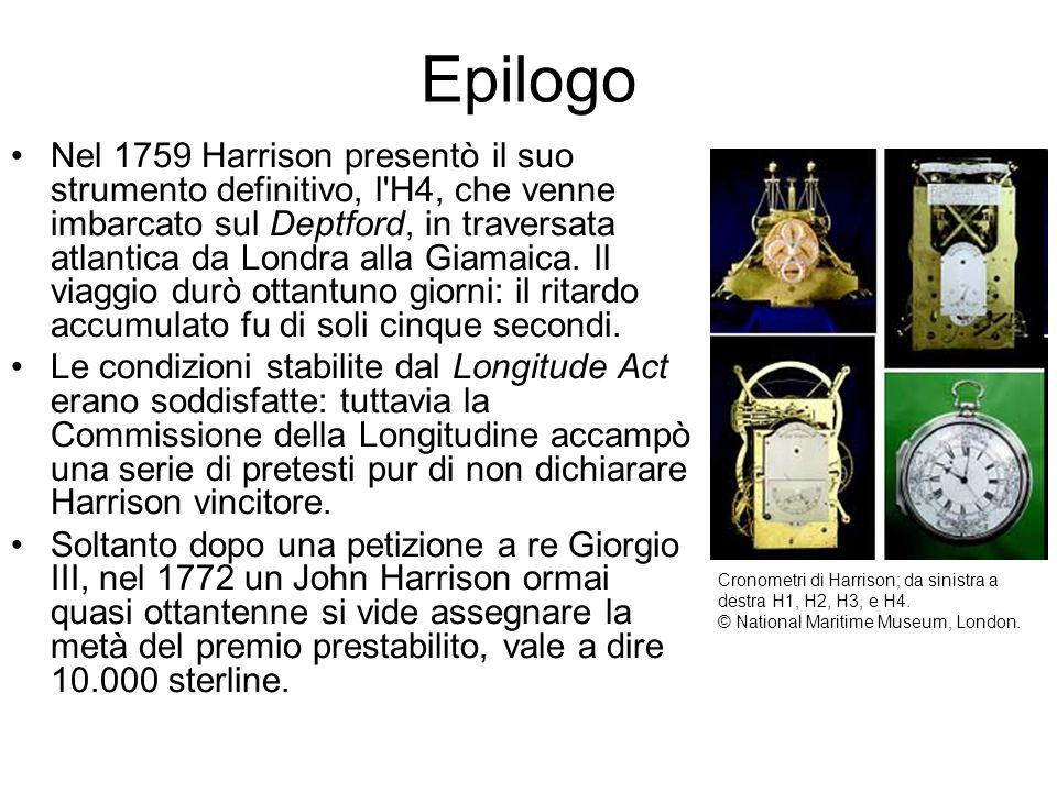 Nel 1759 Harrison presentò il suo strumento definitivo, l'H4, che venne imbarcato sul Deptford, in traversata atlantica da Londra alla Giamaica. Il vi