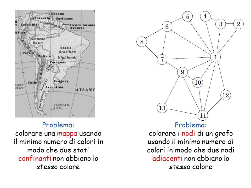Copyright © 2004 - The McGraw - Hill Companies, srl 36 Problema: colorare una mappa usando il minimo numero di colori in modo che due stati confinanti