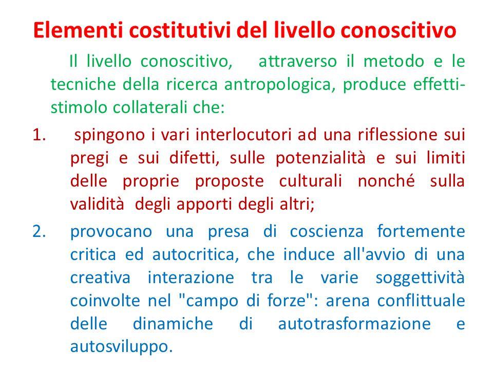 Elementi costitutivi del livello conoscitivo Il livello conoscitivo, attraverso il metodo e le tecniche della ricerca antropologica, produce effetti-