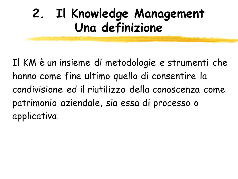 2.Il Knowledge Management Una definizione Il KM è un insieme di metodologie e strumenti che hanno come fine ultimo quello di consentire la condivision