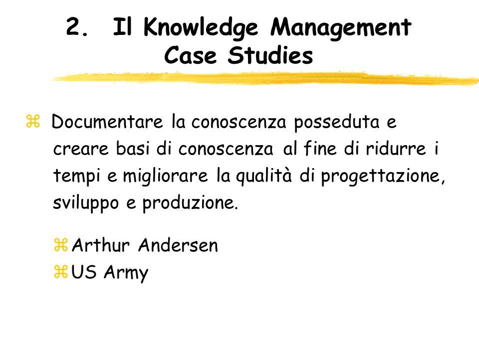 2.Il Knowledge Management Case Studies z Documentare la conoscenza posseduta e creare basi di conoscenza al fine di ridurre i tempi e migliorare la qu