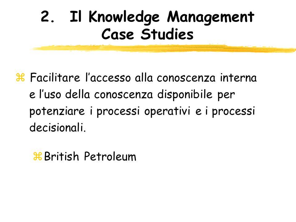2.Il Knowledge Management Case Studies z Facilitare laccesso alla conoscenza interna e luso della conoscenza disponibile per potenziare i processi ope