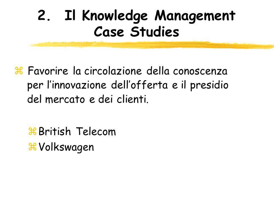 2.Il Knowledge Management Case Studies z Favorire la circolazione della conoscenza per linnovazione dellofferta e il presidio del mercato e dei client