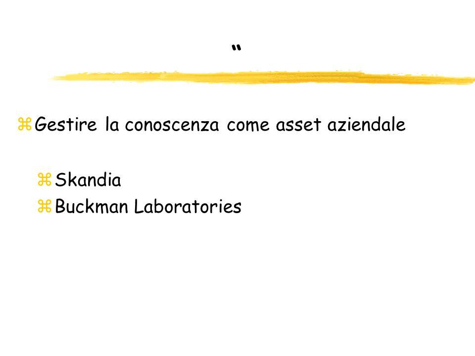 zGestire la conoscenza come asset aziendale zSkandia zBuckman Laboratories