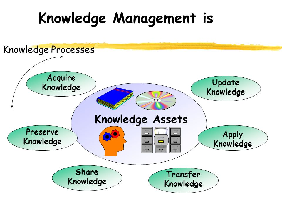 Knowledge Management is Knowledge Assets Transfer Knowledge Acquire Knowledge Update Knowledge Apply Knowledge Preserve Knowledge Share Knowledge Knowledge Processes