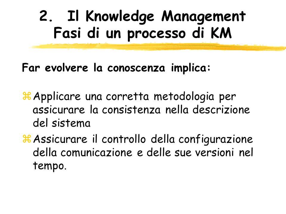 2.Il Knowledge Management Fasi di un processo di KM zApplicare una corretta metodologia per assicurare la consistenza nella descrizione del sistema zA
