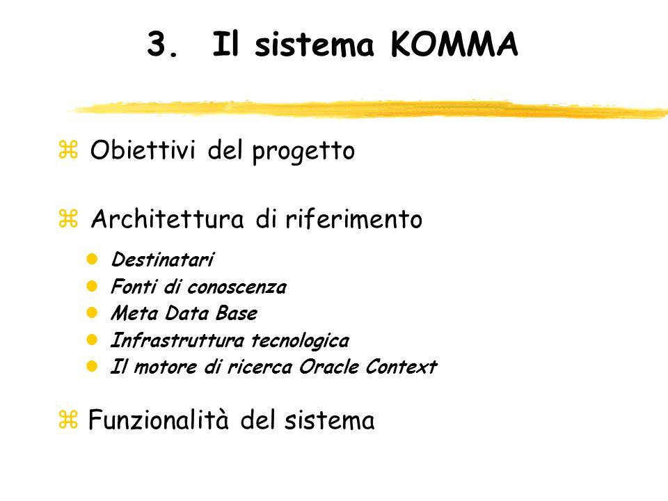 3.Il sistema KOMMA z Obiettivi del progetto z Architettura di riferimento lDestinatari lFonti di conoscenza lMeta Data Base lInfrastruttura tecnologic