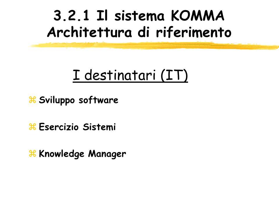 3.2.1 Il sistema KOMMA Architettura di riferimento zSviluppo software zEsercizio Sistemi zKnowledge Manager I destinatari (IT)