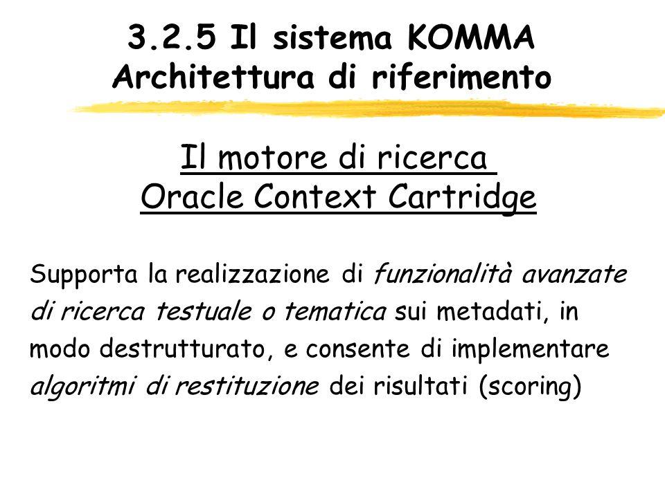 3.2.5 Il sistema KOMMA Architettura di riferimento Supporta la realizzazione di funzionalità avanzate di ricerca testuale o tematica sui metadati, in