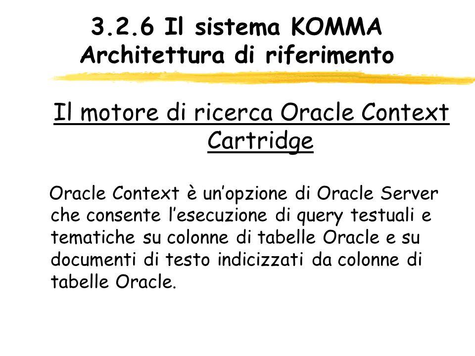 3.2.6 Il sistema KOMMA Architettura di riferimento Il motore di ricerca Oracle Context Cartridge Oracle Context è unopzione di Oracle Server che conse
