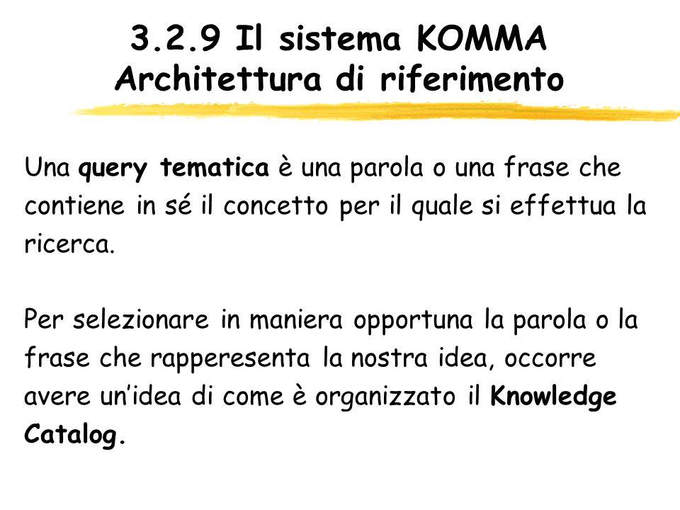 3.2.9 Il sistema KOMMA Architettura di riferimento Una query tematica è una parola o una frase che contiene in sé il concetto per il quale si effettua