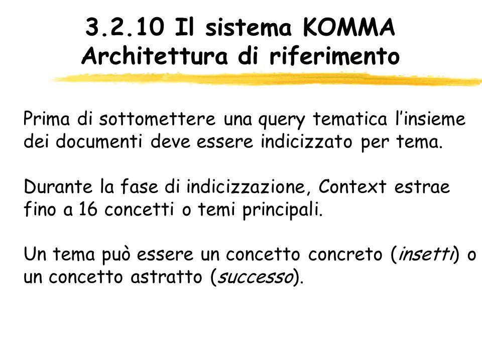 3.2.10 Il sistema KOMMA Architettura di riferimento Prima di sottomettere una query tematica linsieme dei documenti deve essere indicizzato per tema.