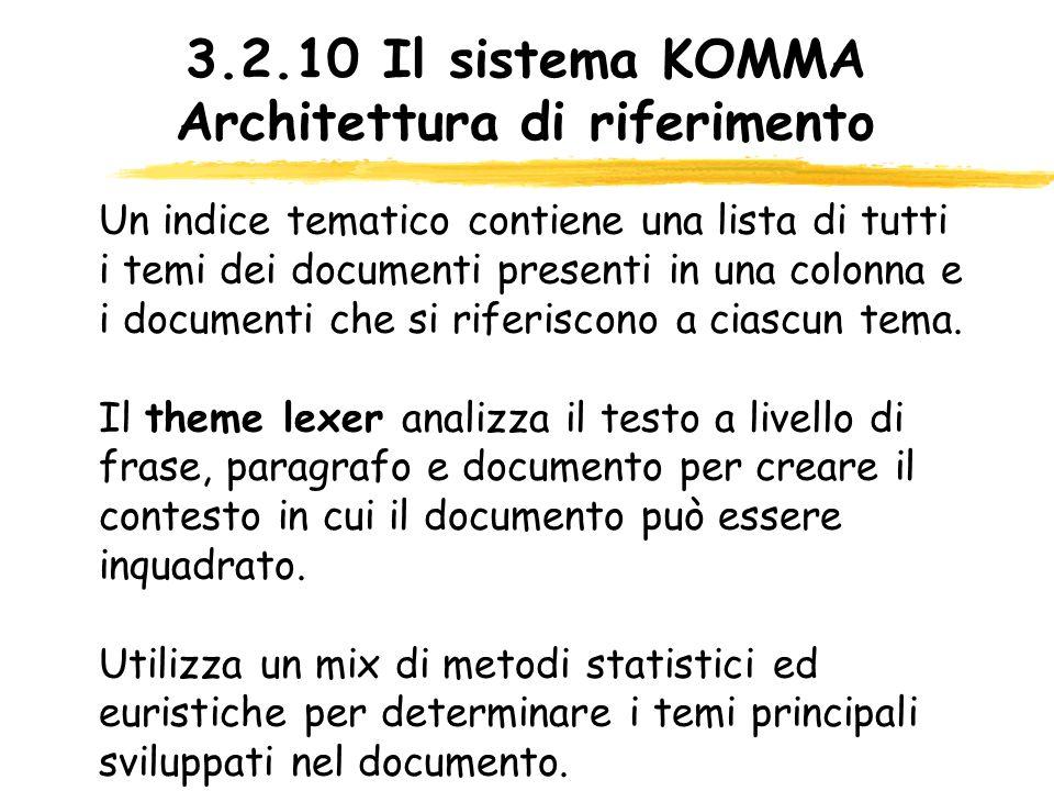 3.2.10 Il sistema KOMMA Architettura di riferimento Un indice tematico contiene una lista di tutti i temi dei documenti presenti in una colonna e i do