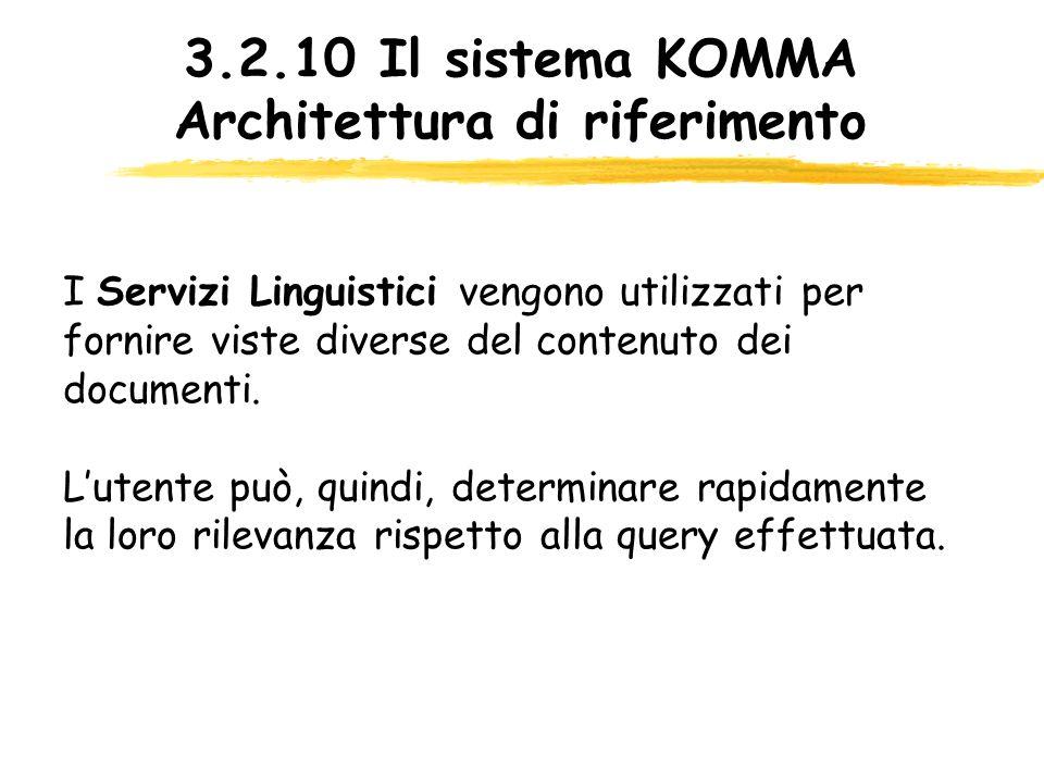 3.2.10 Il sistema KOMMA Architettura di riferimento I Servizi Linguistici vengono utilizzati per fornire viste diverse del contenuto dei documenti. Lu