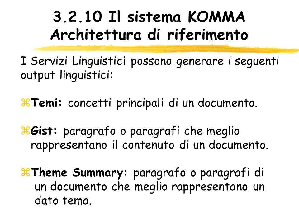 3.2.10 Il sistema KOMMA Architettura di riferimento Temi: concetti principali di un documento. Gist: paragrafo o paragrafi che meglio rappresentano il