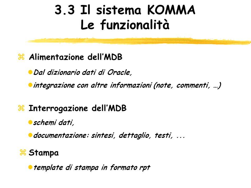 3.3 Il sistema KOMMA Le funzionalità zStampa z Alimentazione dellMDB lDal dizionario dati di Oracle, lintegrazione con altre informazioni (note, comme