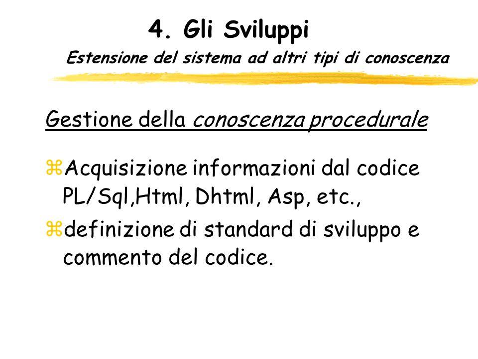 Estensione del sistema ad altri tipi di conoscenza zAcquisizione informazioni dal codice PL/Sql,Html, Dhtml, Asp, etc., zdefinizione di standard di sv