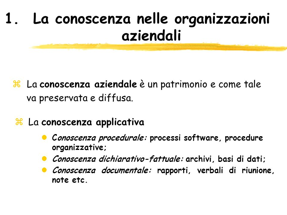 1.La conoscenza nelle organizzazioni aziendali z La conoscenza applicativa lConoscenza procedurale: processi software, procedure organizzative; lConos