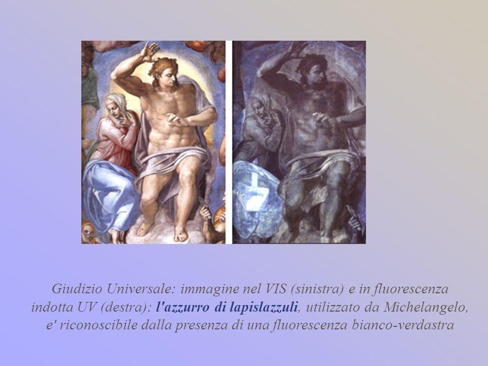 Giudizio Universale: immagine nel VIS (sinistra) e in fluorescenza indotta UV (destra): l'azzurro di lapislazzuli, utilizzato da Michelangelo, e' rico