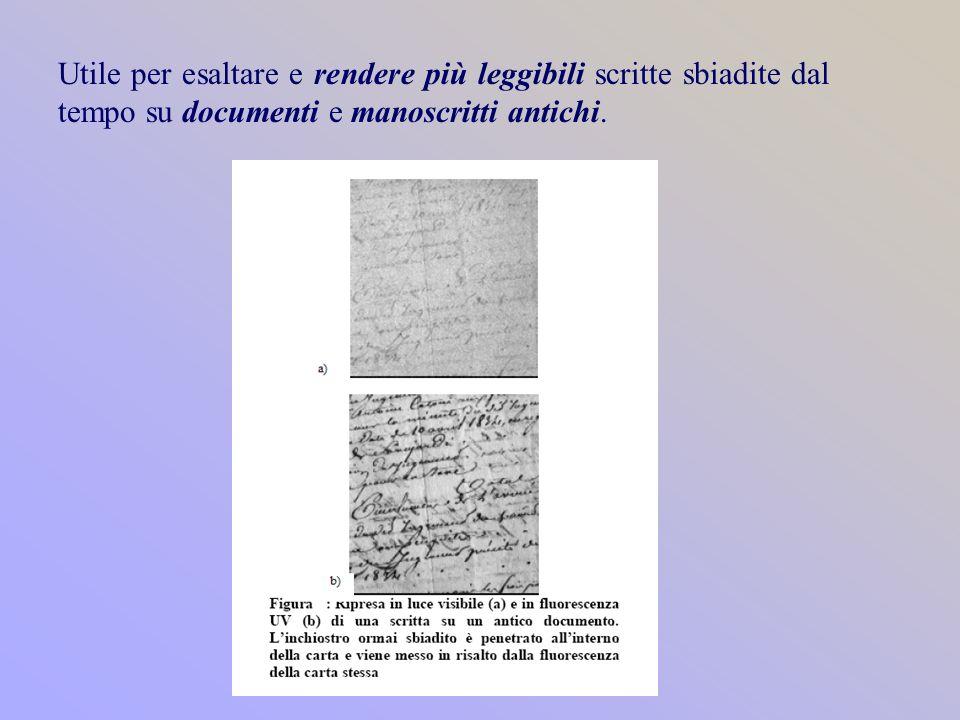 Utile per esaltare e rendere più leggibili scritte sbiadite dal tempo su documenti e manoscritti antichi.
