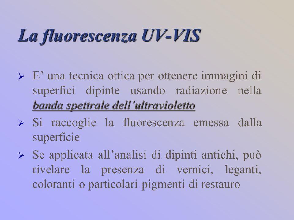 La fluorescenza UV-VIS banda spettrale dellultravioletto E una tecnica ottica per ottenere immagini di superfici dipinte usando radiazione nella banda