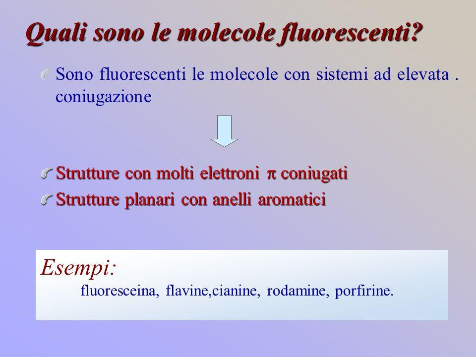 Quali sono le molecole fluorescenti? Sono fluorescenti le molecole con sistemi ad elevata. coniugazione Strutture con molti elettroni coniugati Strutt