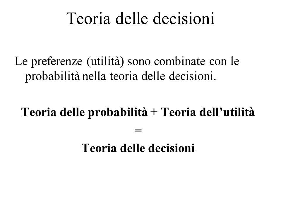 Teoria delle decisioni Le preferenze (utilità) sono combinate con le probabilità nella teoria delle decisioni.