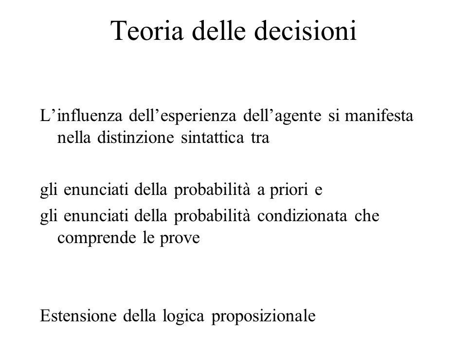 Teoria delle decisioni Linfluenza dellesperienza dellagente si manifesta nella distinzione sintattica tra gli enunciati della probabilità a priori e gli enunciati della probabilità condizionata che comprende le prove Estensione della logica proposizionale