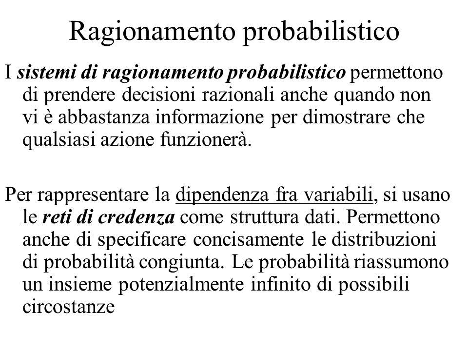 Ragionamento probabilistico I sistemi di ragionamento probabilistico permettono di prendere decisioni razionali anche quando non vi è abbastanza informazione per dimostrare che qualsiasi azione funzionerà.