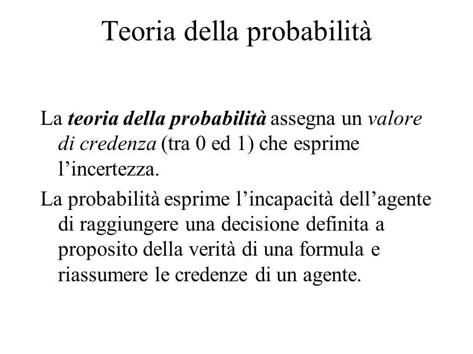 Teoria della probabilità La teoria della probabilità assegna un valore di credenza (tra 0 ed 1) che esprime lincertezza.