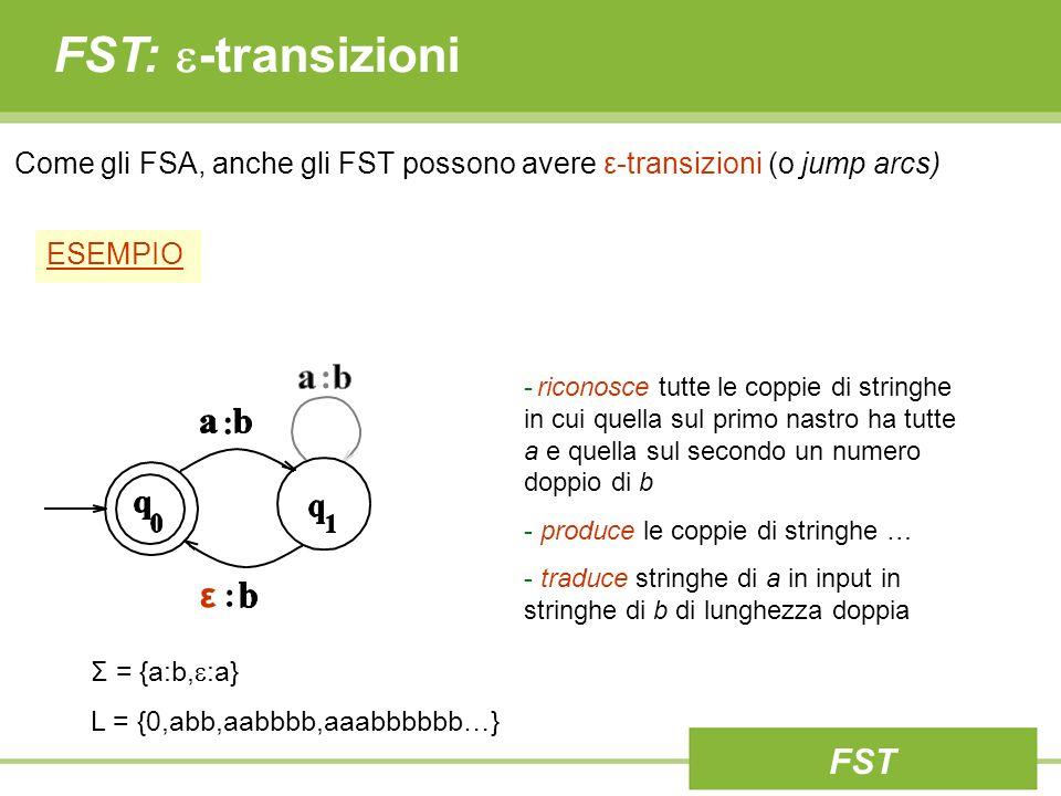 FST: -transizioni - riconosce tutte le coppie di stringhe in cui quella sul primo nastro ha tutte a e quella sul secondo un numero doppio di b - produ
