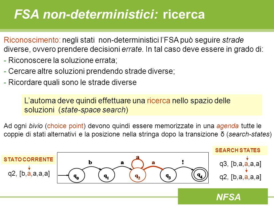 FSA non-deterministici: ricerca Riconoscimento: negli stati non-deterministici lFSA può seguire strade diverse, ovvero prendere decisioni errate. In t