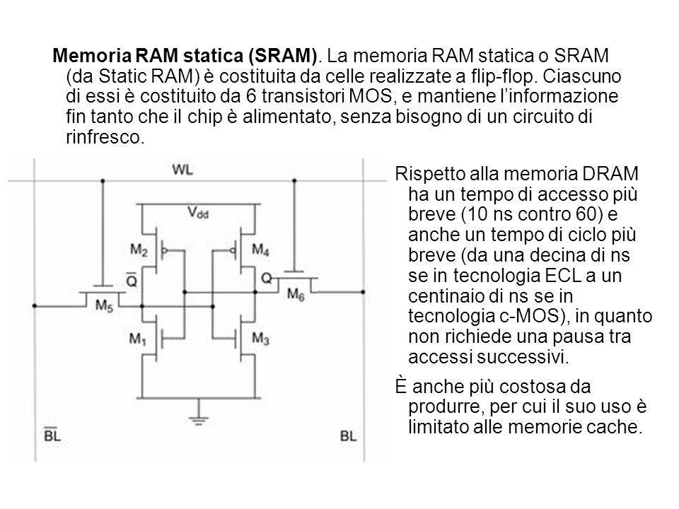 Memoria RAM statica (SRAM). La memoria RAM statica o SRAM (da Static RAM) è costituita da celle realizzate a flip-flop. Ciascuno di essi è costituito