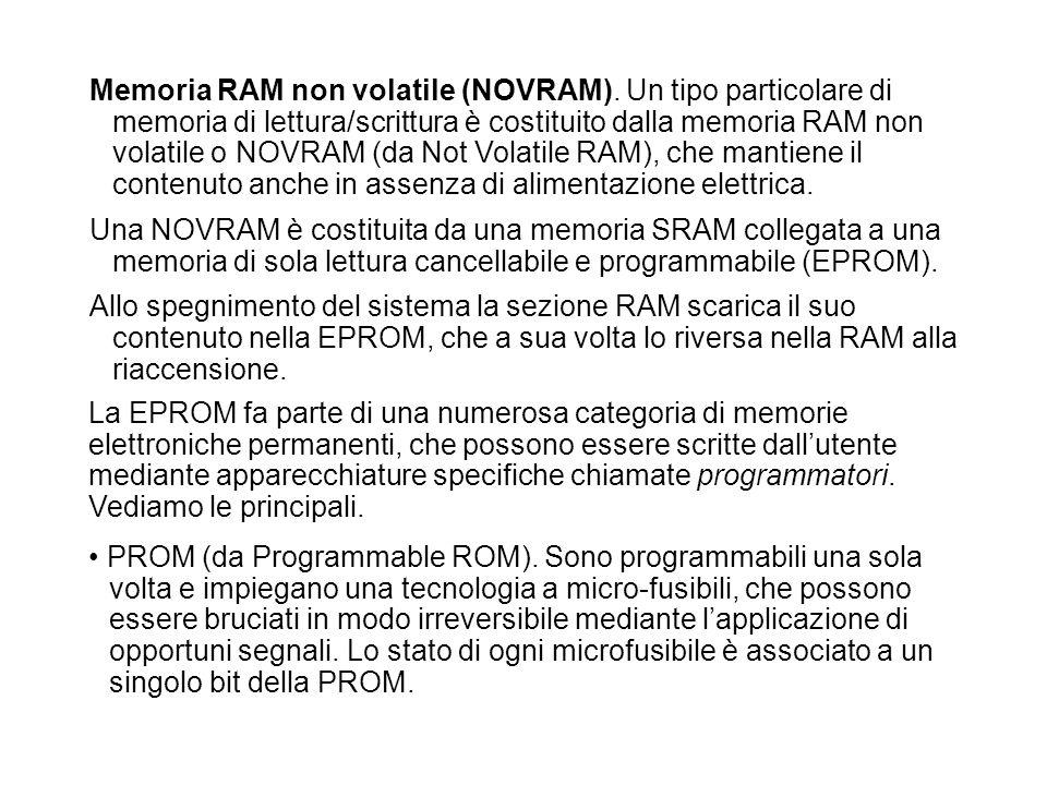 Memoria RAM non volatile (NOVRAM). Un tipo particolare di memoria di lettura/scrittura è costituito dalla memoria RAM non volatile o NOVRAM (da Not Vo