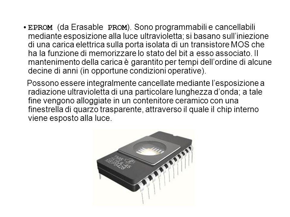EPROM (da Erasable PROM ). Sono programmabili e cancellabili mediante esposizione alla luce ultravioletta; si basano sulliniezione di una carica elett