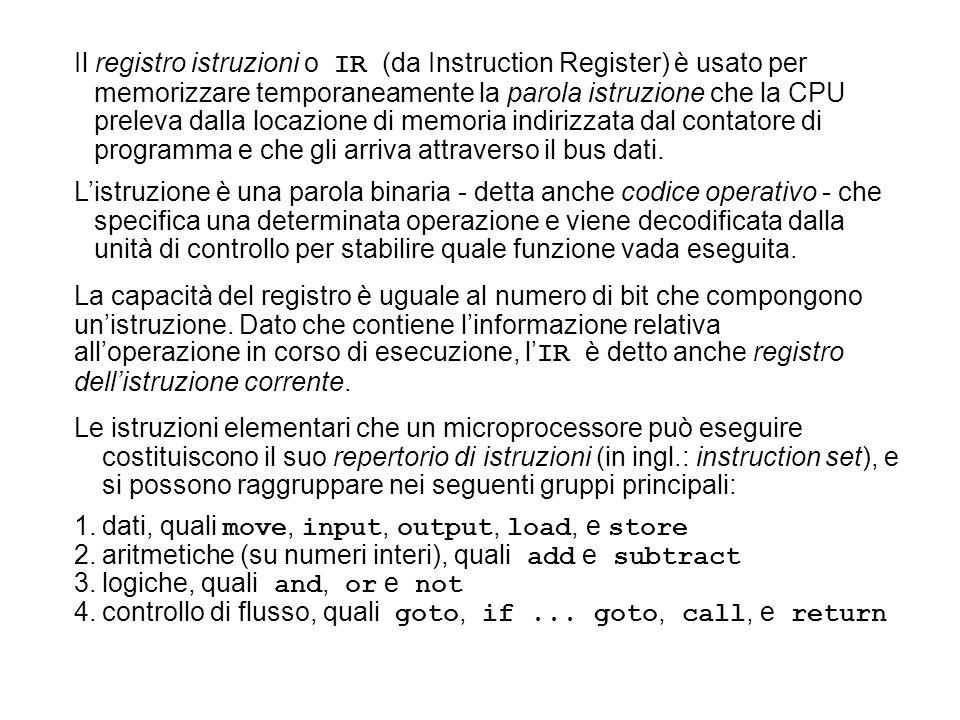 Le istruzioni elementari che un microprocessore può eseguire costituiscono il suo repertorio di istruzioni (in ingl.: instruction set), e si possono r