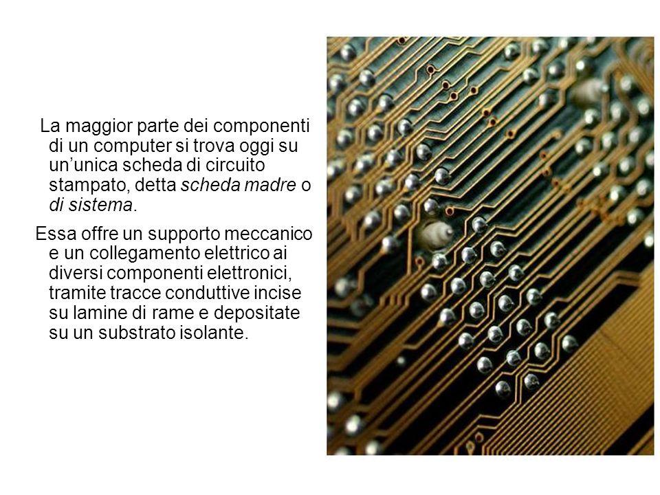 La maggior parte dei componenti di un computer si trova oggi su ununica scheda di circuito stampato, detta scheda madre o di sistema. Essa offre un su