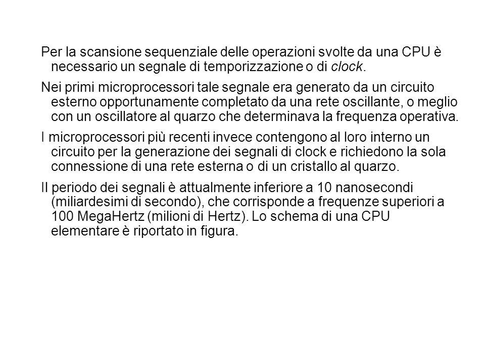 Per la scansione sequenziale delle operazioni svolte da una CPU è necessario un segnale di temporizzazione o di clock. Nei primi microprocessori tale